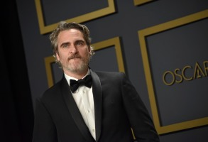 Joaquin Phoenix, winner of the Actor in a Leading Role award for ÒJoker,Ó posing in the press room at the 92nd Annual Academy Awards held at the Dolby Theatre in Hollywood, California on Feb. 9, 2020. (Photo by Sthanlee B. Mirador/Sipa USA)(Sipa via AP Images)
