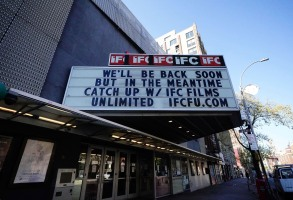 Photo by: zz/John Nacion/STAR MAX/IPx 2020 4/22/20 Signs of the times in New York City amid the coronavirus pandemic. (NYC) Here, The IFC Center, Manhattan, New York City