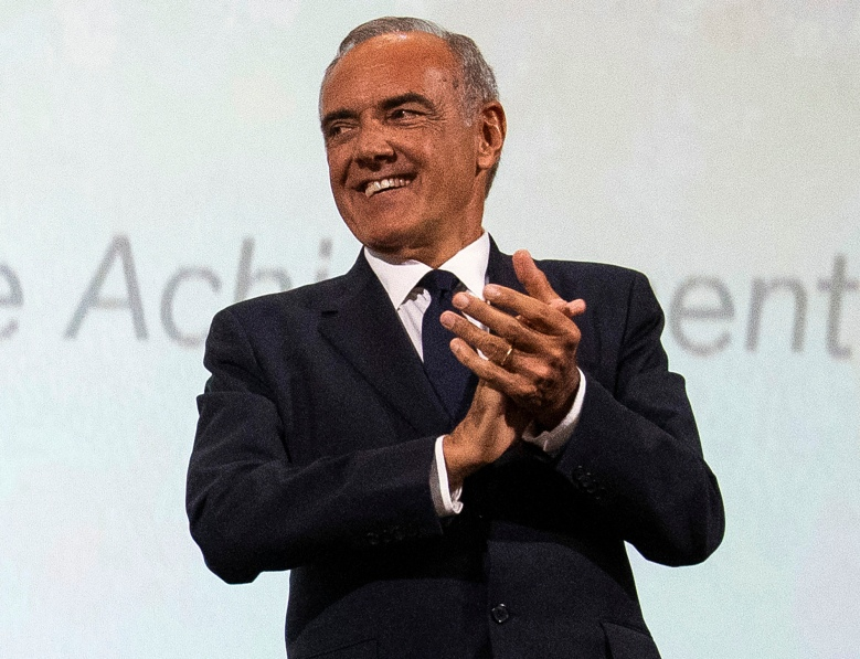 FILE - In this Sept. 2, 2019 photo, Festival director Alberto Barbera appears at the Golden Lion for Lifetime Achievement Award presentation at the 76th edition of the Venice Film Festival, Venice, Italy.  Organizers said Tuesday, July 7, that they are forging ahead with plans for its 77th installment, which will include a slightly reduced number of films in the main competition as well as some outdoor and virtual screenings.  (Photo by Arthur Mola/Invision/AP, File)