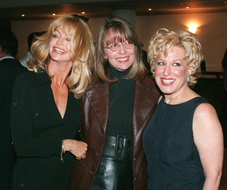 From left, Goldie Hawn, Diane Keaton, and Bette Midler attend the world premier of their latest movie