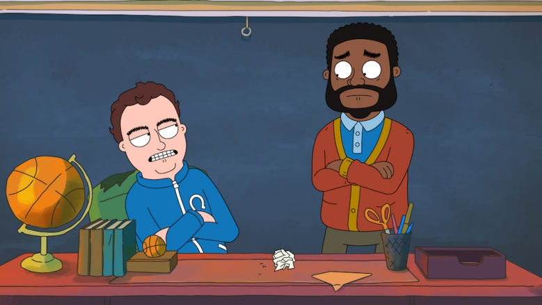 HOOPS (L to R) Jake Johnson as Coach Ben Hopkins and Ron Funches as Ron in episode 1 of HOOPS. Cr. NETFLIX © 2020