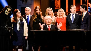 """SATURDAY NIGHT LIVE -- """"Dwayne Johnson"""" Episode 1725 -- Pictured: (l-r) advisor Steve Bannon, Aidy Bryant as Principal Deputy White House Press Secretary Sarah Huckabee Sanders, Beck Bennett as Vice President Pence, Cecily Strong as First Lady Melania Trump, Alec Baldwin as President Donald J. Trump, Scarlett Johansson as Ivanka Trump, Kate McKinnon as Counselor to the president Kellyanne Conway, Alex Moffat, Mikey Day in """"Hallelujah Cold Open"""" in Studio 8H on May 20, 2017 -- (Photo by: Will Heath/NBC)"""