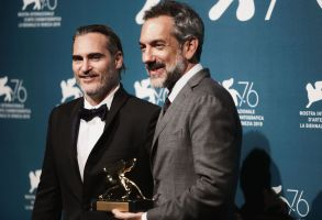 Todd Phillips (R) holds the Golden Lion award for the movie 'Joker' next to Joaquin Phoenix (L)Closing ceremony, 76th Venice Film Festival, Italy - 07 Sep 2019