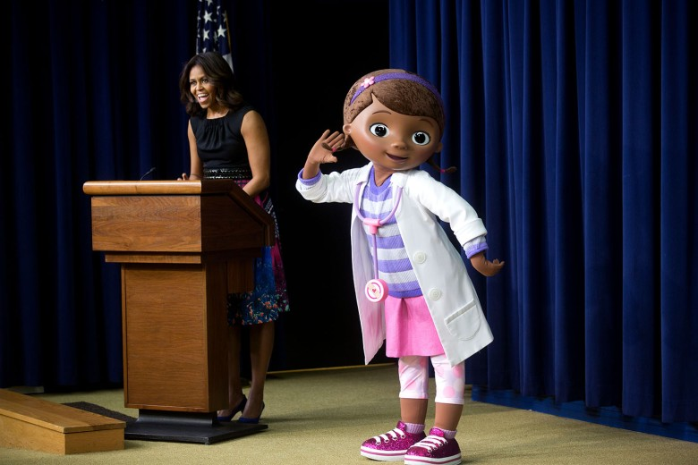 First Lady Michelle Obama delivers remarks to military children and families during a preview screening of a Veterans Day episode of Disney's 'Doc McStuffins,' that explores the emotions children face when a parent is deployed, in the Eisenhower Executive Office Building South Court AuditoriumVarious