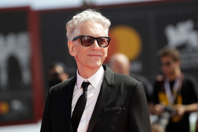 Director David Cronenberg poses for photographers upon arrival to receive his Golden Lion for Lifetime Achievement award at the 75th edition of the Venice Film Festival in Venice, Italy, Thursday, Sept. 6, 2018. (AP Photo/Kirsty Wigglesworth)