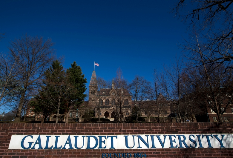 Gallaudet University in Washington, Wednesday, Dec. 11, 2019. Driven by different spiritual traditions, students and faculty alike participate in forms of Christianity, Islam, and Judaism that cater to the non-hearing, complete with worship services and even activism rooted in the dual experiences of being deaf and a person of faith. (AP Photo/Jose Luis Magana)