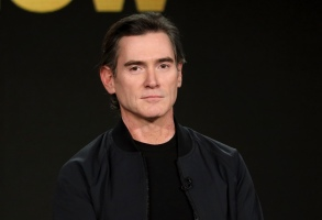 """Billy Crudup speaks at the """"The Morning Show"""" panel during the Apple+ TCA 2020 Winter Press Tour at the Langham Huntington, Sunday, Jan. 19, 2020, in Pasadena, Calif. (Photo by Willy Sanjuan/Invision/AP)"""