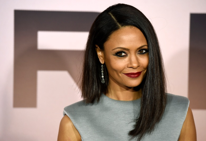 """Thandie Newton, a cast member in the HBO series """"Westworld,"""" poses at the Season 3 premiere of the show at the TCL Chinese Theatre, Thursday, March 5, 2020, in Los Angeles. (AP Photo/Chris Pizzello)"""