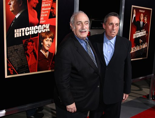 """Tom Pollock, left, and Ivan Reitman attend the LA premiere of """"Hitchcock"""" at the Samuel Goldwyn Theatre on Tuesday, Nov. 20, 2012, in Beverly Hills, Calif. (Photo by Matt Sayles/Invision/AP)"""