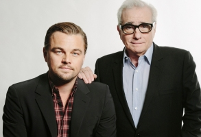 "This Dec. 15, 2013 photo shows American actor Leonardo DiCaprio, left, with American film director Martin Scorsese in New York. DiCaprio stars in the Scorsese film, ""The Wolves of Wall Street."" (Photo by Victoria Will/Invision/AP)"
