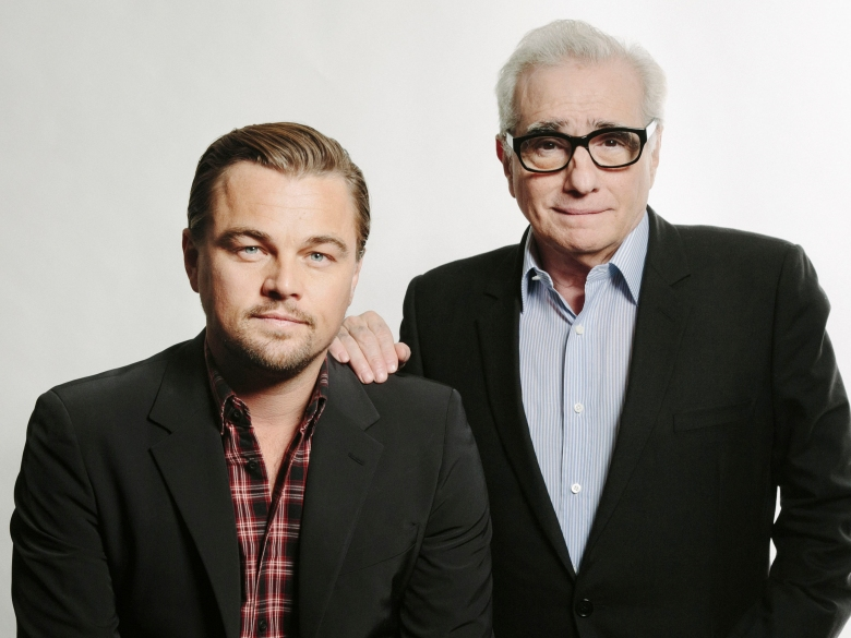 """This Dec. 15, 2013 photo shows American actor Leonardo DiCaprio, left, with American film director Martin Scorsese in New York. DiCaprio stars in the Scorsese film, """"The Wolves of Wall Street."""" (Photo by Victoria Will/Invision/AP)"""