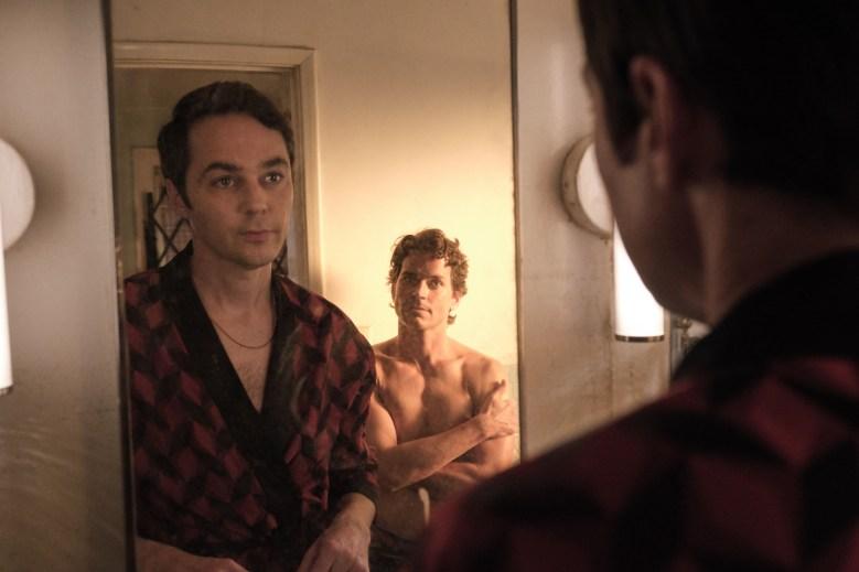 THE BOYS IN THE BAND (2020)Jim Parsons as Michael and Matt Bomer as Donald.Cr. Scott Everett White/NETFLIX ©2020