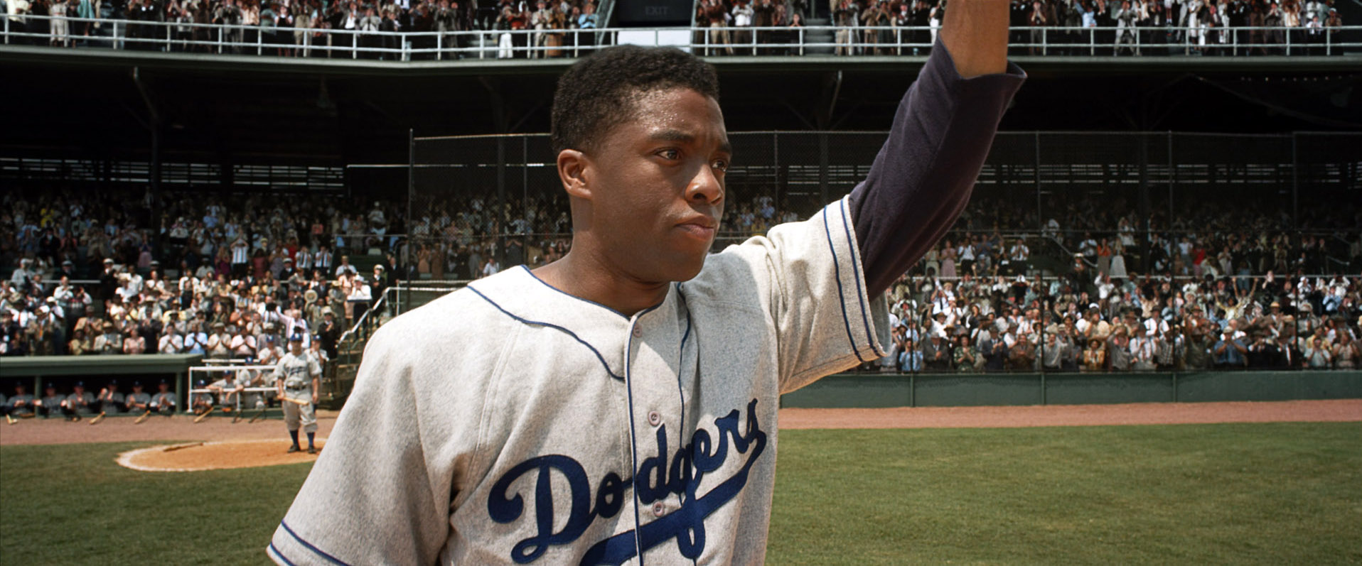 42, (aka FORTY-TWO), Chadwick Boseman as Jackie Robinson, 2013. /©Warner Bros. Pictures/courtesy Everett Collection