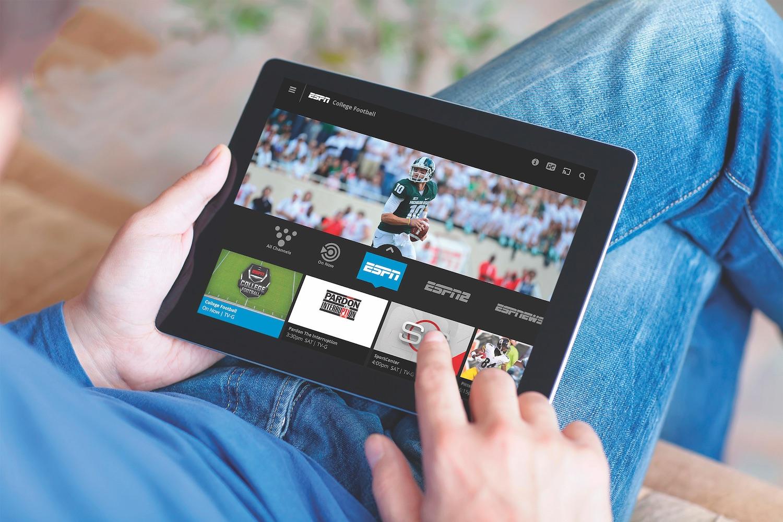 Sling TV app on an iPad