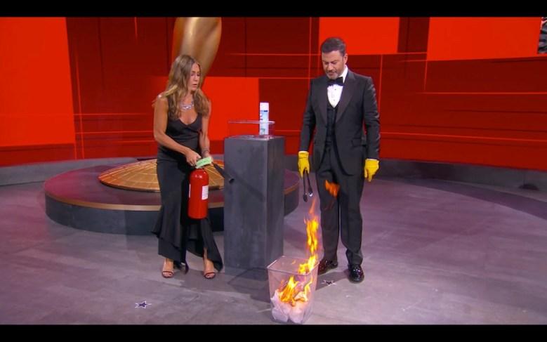 """THE 72ND EMMY® AWARDS - Hosted by Jimmy Kimmel, the """"72nd Emmy® Awards"""" will broadcast SUNDAY, SEPT. 20 (8:00 p.m. EDT/6:00 p.m. MDT/5:00 p.m. PDT), on ABC. (ABC/ABC)JENNIFER ANISTON, JIMMY KIMMEL"""