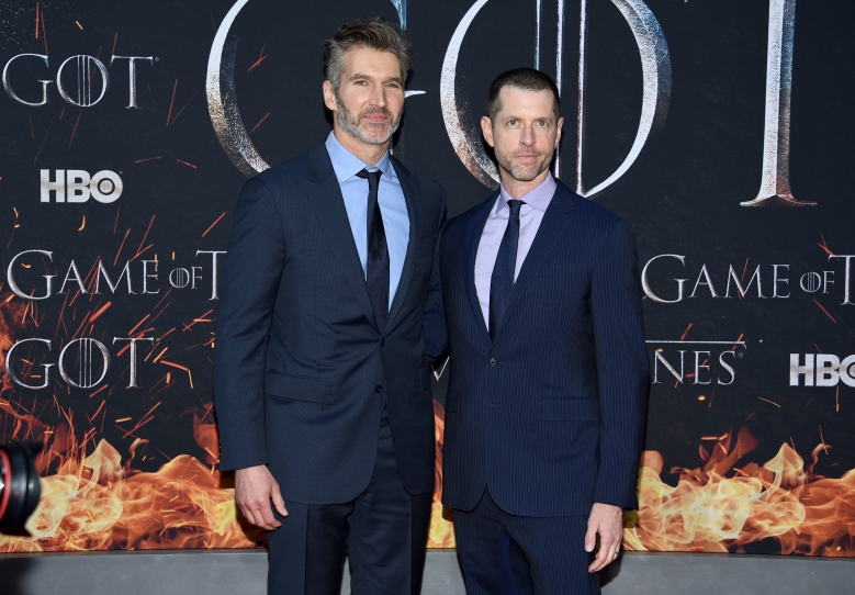 """Creator/executive producers David Benioff, left, and D. B. Weiss attend HBO's """"Game of Thrones"""" final season premiere at Radio City Music Hall on Wednesday, April 3, 2019, in New York. (Photo by Evan Agostini/Invision/AP)"""
