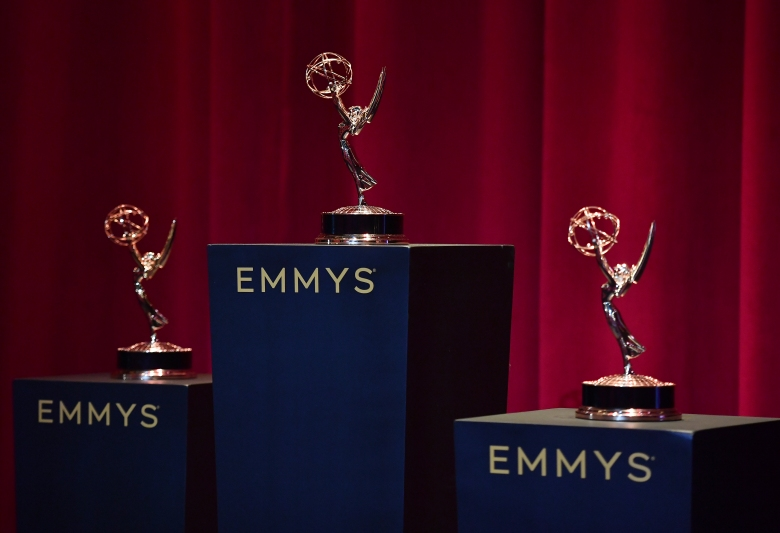 Emmy statues appear at the nominations for the 71st Emmy Awards at the Saban Media Center's Wolfe Theatre at the Television Academy on Tuesday, July 16, 2019 in North Hollywood, Calif. (Photo by Vince Bucci/Invision for the Television Academy/AP Images)