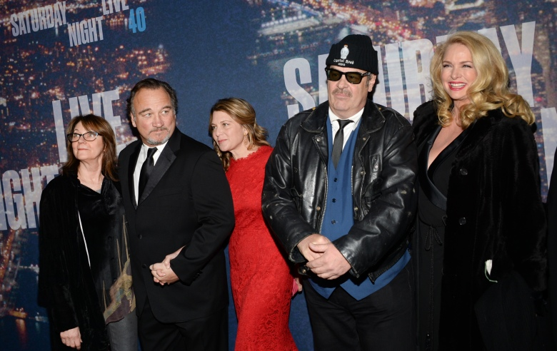 Judith Belushi, James Belushi, Jennifer Sloan, Dan Aykroyd and Donna Dixon attend the SNL 40th Anniversary Special at Rockefeller Plaza on Sunday, Feb. 15, 2015, in New York. (Photo by Evan Agostini/Invision/AP)