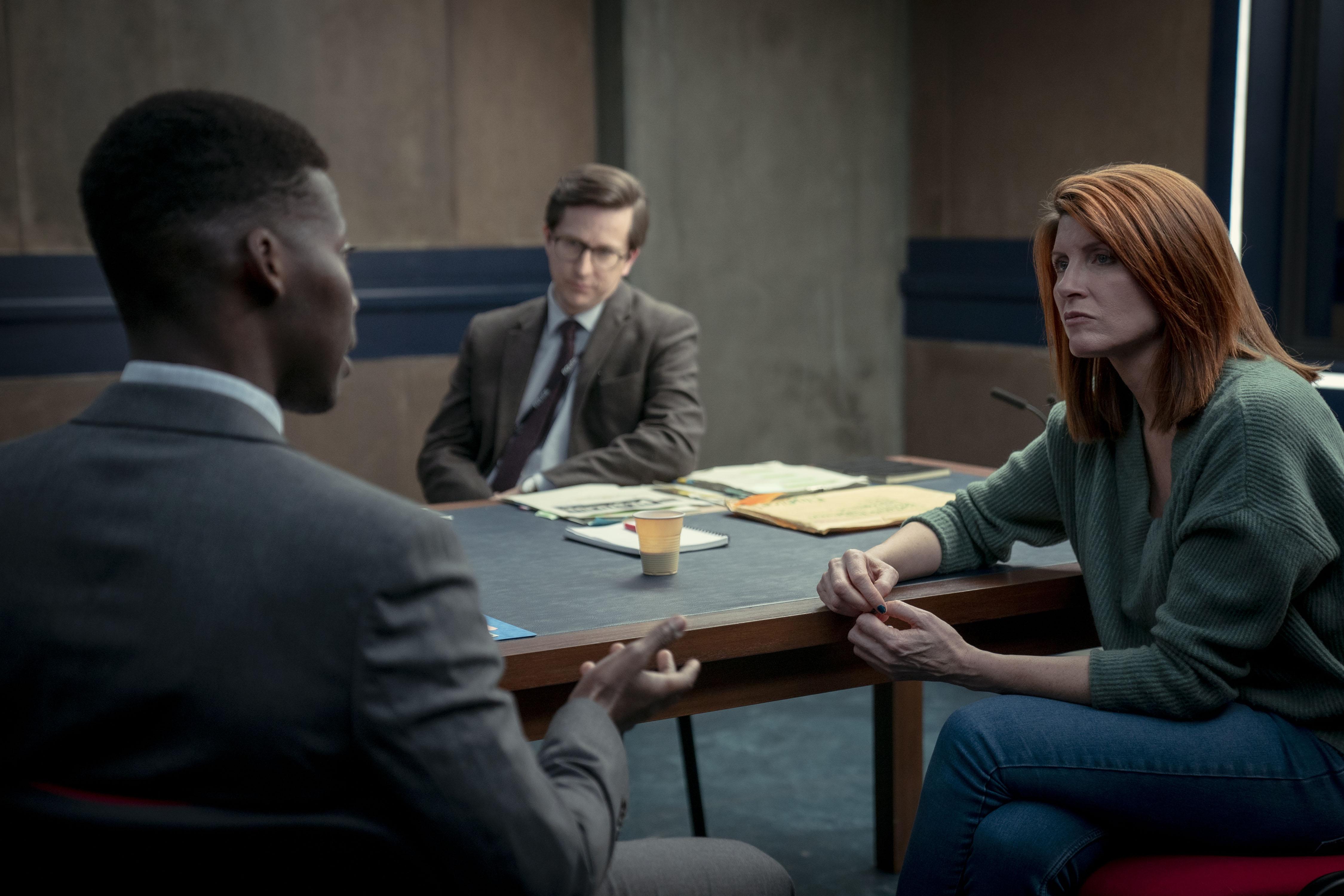 Criminal UK S2. Picture shows: (L-R) Henry Regis (JYUDDAH JAYMES), Tony Myerscough (LEE INGLEBY) and Danielle Dunne (SHARON HORGAN).