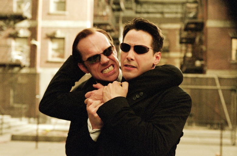 THE MATRIX RELOADED, Hugo Weaving, Keanu Reeves, 2003, (c) Warner Brothers/courtesy Everett Collection