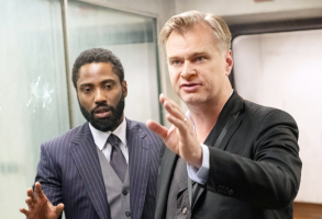 "John David Washington and Christopher Nolan on the set of ""Tenet"""