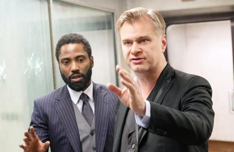 "John David Washington and Christopher Nolan on the set of ""Tenet"""