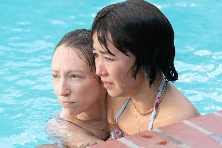"""PEN15 -- """"Pool"""" - Episode 201 -- Two days after the dance, Maya and Anna reluctantly go to a lame pool party. A crush unexpectedly shows up, causing them to question their sanity and reputations. Anna Kone (Anna Konkle) and Maya Ishii-Peters (Maya Erskine), shown. (Photo by: Lara Solanki/Hulu)"""