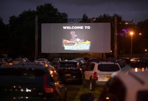 Queens Drive-In at the New York Hall of Science in Queens, New York City, U.S., August 16, 2020. REUTERS/Andrew Kelly