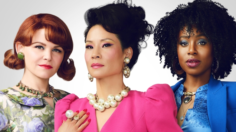Pictured (l-r): Ginnifer Goodwin as Beth-Ann; Lucy Liu as Simone; Kirby Howell-Baptiste as Taylor of the CBS All Access series WHY WOMEN KILL. Photo Cr: Matthias Clamer/CBS ©2019 CBS Interactive, Inc. All Rights Reserved.