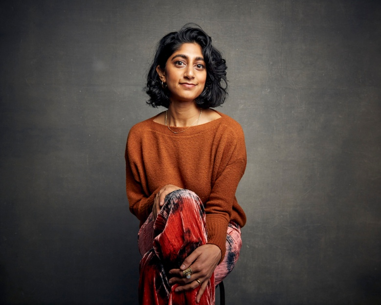 """Sunita Mani poses for a portrait to promote the film """"Save Yourselves!"""" at the Music Lodge during the Sundance Film Festival on Saturday, Jan. 25, 2020, in Park City, Utah. (Photo by Taylor Jewell/Invision/AP)"""
