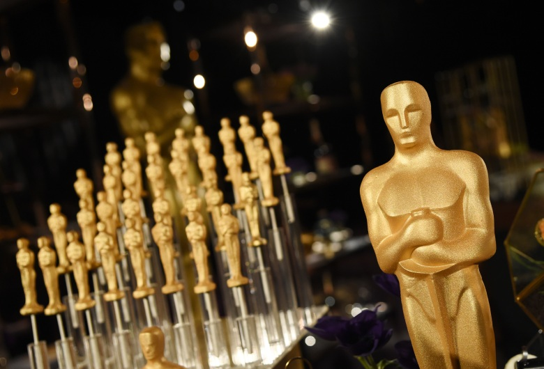 Gold-dusted chocolate Oscar statues are pictured at the Governors Ball Press Preview for the 92nd Academy Awards at the Dolby Theatre, Friday, Jan. 31, 2020, in Los Angeles. The Academy Awards will be held at the Dolby Theatre on Sunday, Feb. 9. (AP Photo/Chris Pizzello)