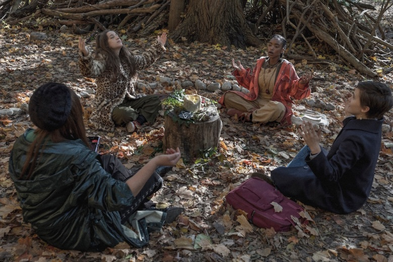 (l-r)  Lourdes (Zoey Luna)  Frankie (Gideon Adlon)  Tabby (Lovie Simone)  and Lily (Cailee Spaeny) practice their rituals in the woods in Columbia Pictures' THE CRAFT: LEGACY.