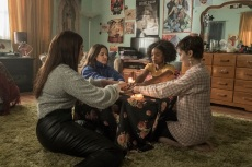 (l-r) Lourdes (Zoey Luna)  Frankie (Gideon Adlon)  Tabby (Lovie Simone) and Lily (Cailee Spaeny) perform rituals and talk about being cautious with their gifts in Columbia Pictures' THE CRAFT: LEGACY.