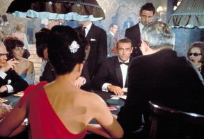 DR. NO, Eunice Gayson (red dress), Sean Connery, 1962.