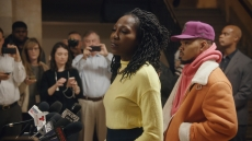 Amara Enyia holds a press conference to announce her Chance the Rapper endorsement. (Chicago Story Film, LLC) City So Real Nat Geo Hulu