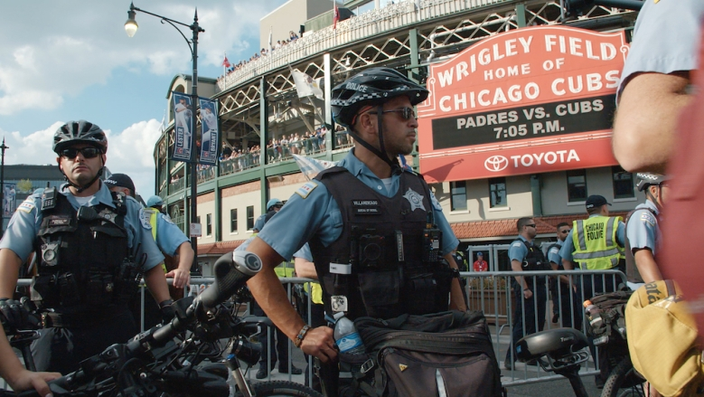 City So Real Nat Geo Hulu Police stand outside of Wrigley Field. (Chicago Story Film, LLC)