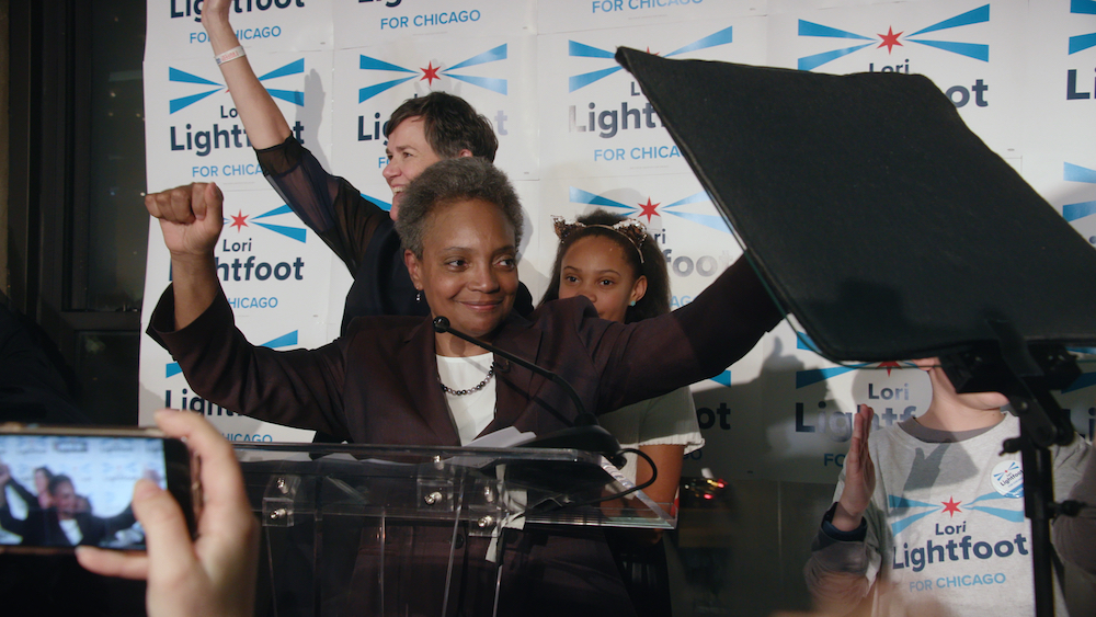 Lori Lightfoot celebrates a preliminary victory as the Chicago Mayoral race comes to a close. (Chicago Story Film, LLC)