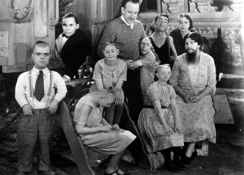 FREAKS, director Tod Browning and cast members on set, (including Johnny Eck, Peter Robinson, Josephine Joseph, Olga Roderick), 1932