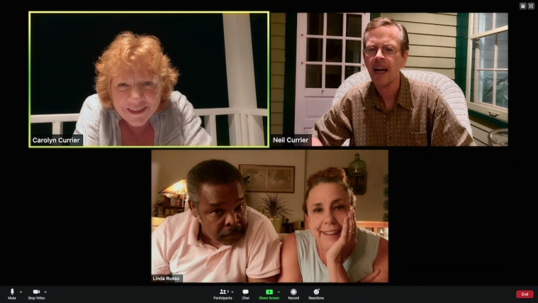SOCIAL DISTANCE (L to R) BECKY ANN BAKER as CAROLYN CURRIER, RAYMOND ANTHONY THOMAS as PETER, MARCIA DEBONIS as LINDA, and DYLAN BAKER as NEIL CURRIER in episode 106 of SOCIAL DISTANCE Cr. COURTESY OF NETFLIX © 2020