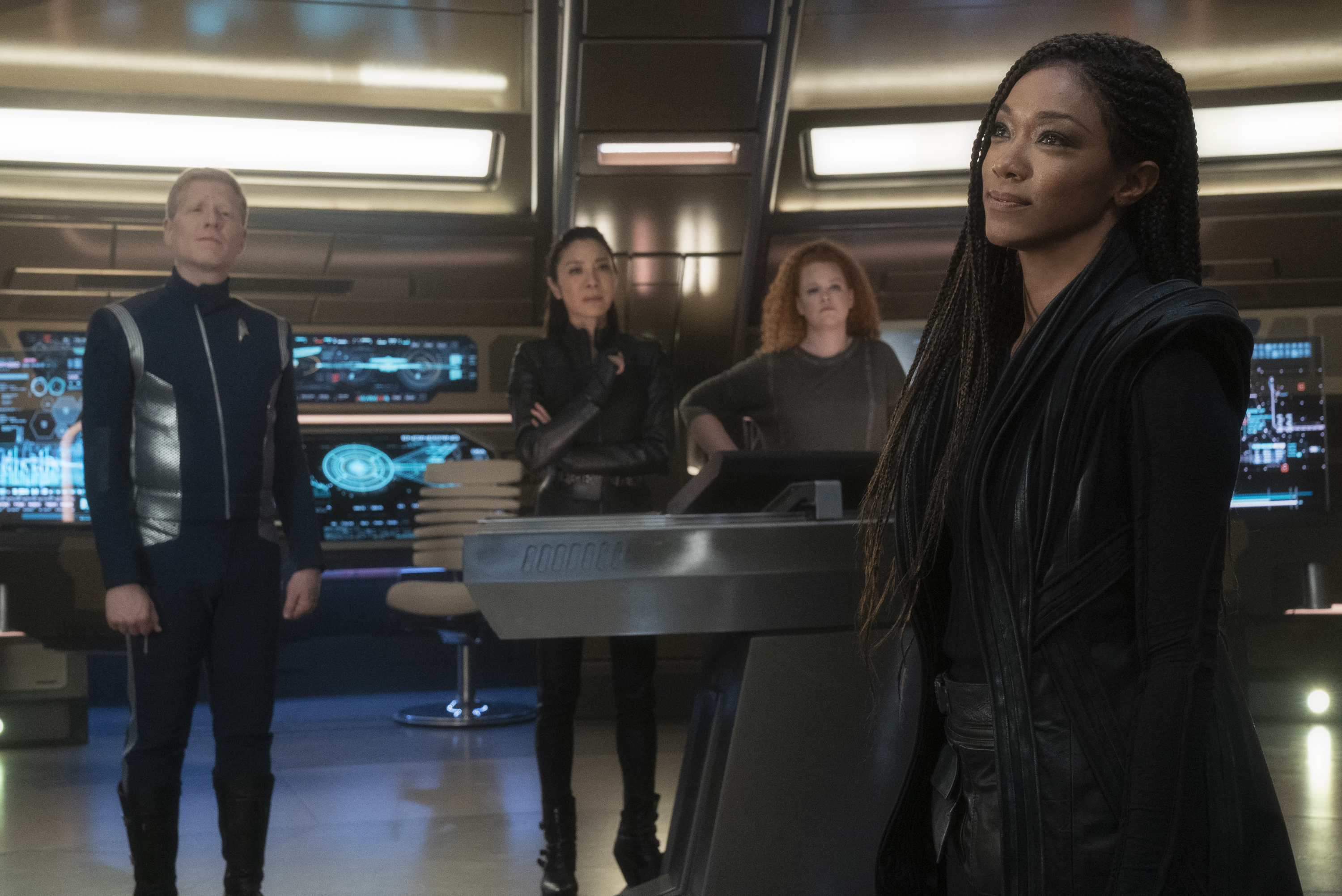 Stammets, Georgiou, Tilly and Burnham reunite on the bridge of the Discovery. From Star Trek Discovery