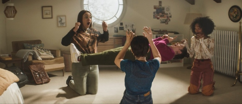 (l-r) Lourdes (Zoey Luna), Frankie (Gideon Adlon), Lily (Cailee Spaeny) and Tabby (Lovie Simone) practice their powers in Columbia Pictures' THE CRAFT: LEGACY.