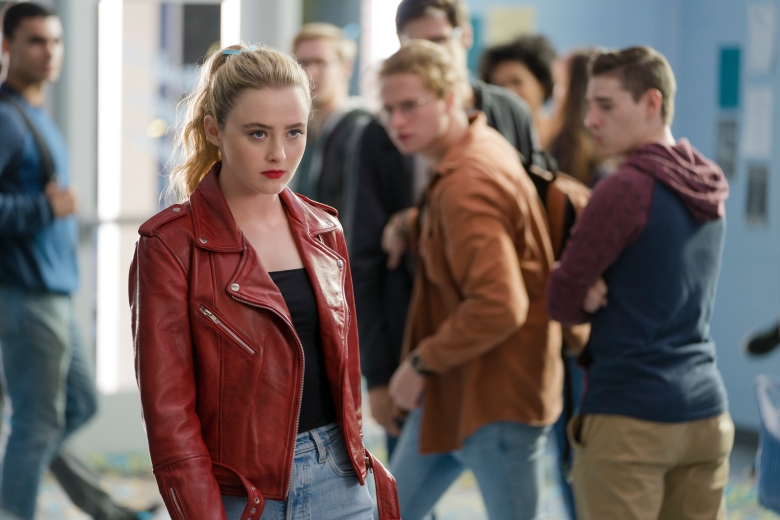 "Kathryn Newton as The Butcher in Millie Kessler's body in ""Freaky,"" co-written and directed by Christopher Landon."