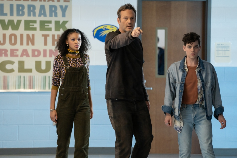 "(from left) Nyla Chones (Celeste O'Connor), Millie Kessler in The Butcher's body (Vince Vaughn) and Josh Detmer (Misha Osherovich) in ""Freaky,"" co-written and directed by Christopher Landon."