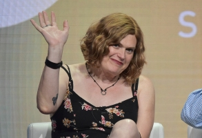 "Lilly Wachowski participates in the Showtime ""Work in Progress"" panel during the Summer 2019 Television Critics Association Press Tour at the Beverly Hilton Hotel on Friday, Aug. 2, 2019, in Beverly Hills, Calif. (Photo by Richard Shotwell/Invision/AP)"