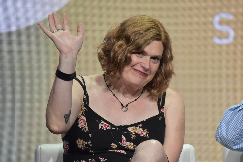"""Lilly Wachowski participates in the Showtime """"Work in Progress"""" panel during the Summer 2019 Television Critics Association Press Tour at the Beverly Hilton Hotel on Friday, Aug. 2, 2019, in Beverly Hills, Calif. (Photo by Richard Shotwell/Invision/AP)"""