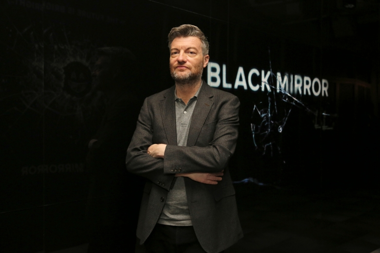 Charlie Brooker seen at the 'Black Mirror' panel Q&A at the FYSee exhibit space on Friday, May 19, 2017, in Los Angeles. (Blair Raughley via AP)