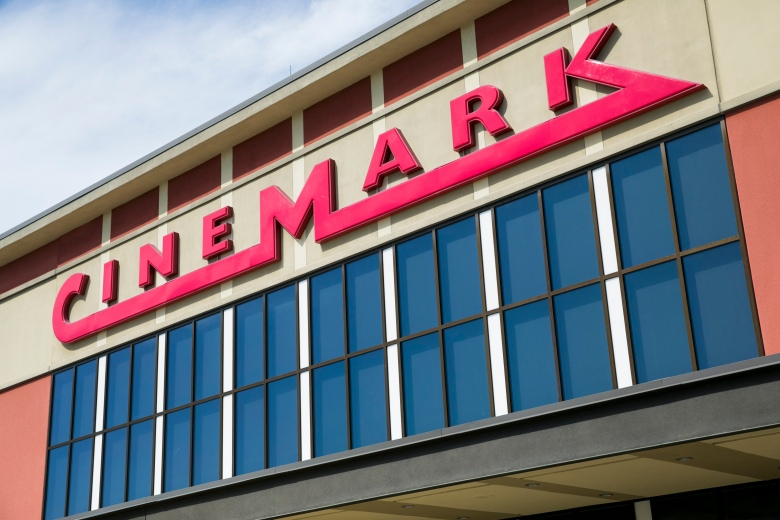 A logo sign outside of a Cinemark movie theater location in Chesapeake, Virginia on May 2, 2020. (Photo by Kristoffer Tripplaar/Sipa USA)(Sipa via AP Images)