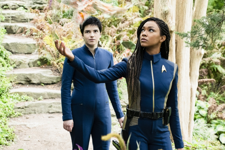 """Forget Me Not"" — Ep#304 — Pictured: Blu del Barrio as Adira and Sonequa Martin-Green as Burnham of the CBS All Access series STAR TREK: DISCOVERY. Photo Cr: Michael Gibson/CBS ©2020 CBS Interactive, Inc. All Rights Reserved."