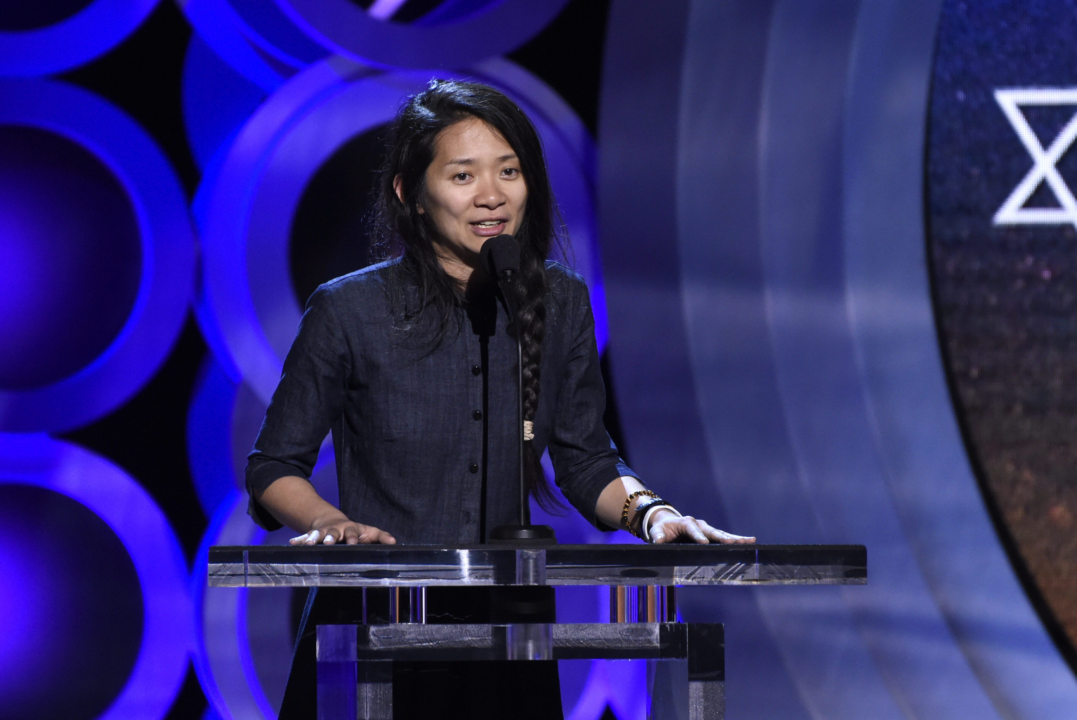 Chloe Zhao accepts the Bonnie award at the 33rd Film Independent Spirit Awards on Saturday, March 3, 2018, in Santa Monica, Calif. (Photo by Chris Pizzello/Invision/AP)