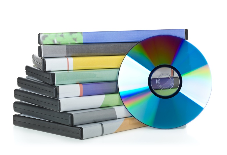 DVD, CD-ROM or Blu-Ray disc with stacked boxes for movies, audio or software on white background